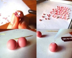 FIMO DIY tutorial earrings - cascade of flowers